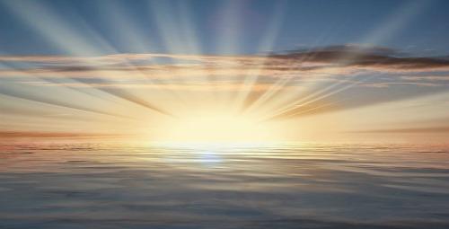 Sun Rays Over The Sea